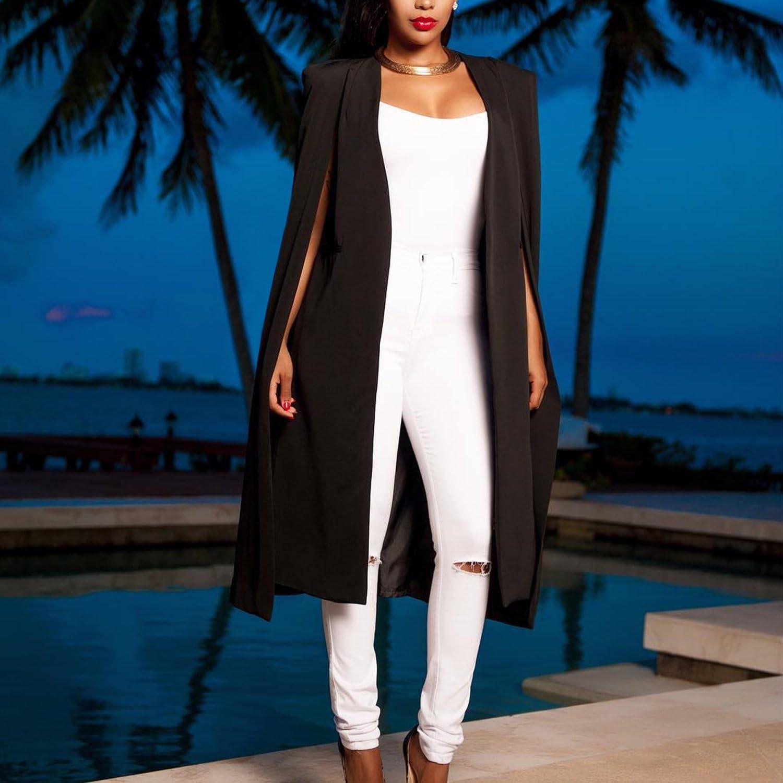 LAEMILIA Womens Spring Cape Blazer Trench Duster Coat Casual Open Front Long Cloak Cape Solid Color Suit Jacket