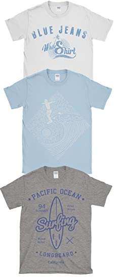 Hombre Triple Paquete De Estampado Verano Algodón Camisetas ...