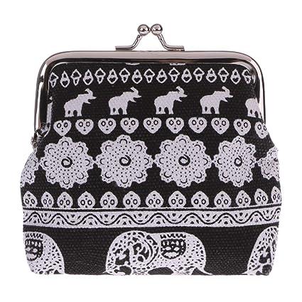 Sqiuxia - Monedero de Tela, diseño de Elefante, Color Negro ...