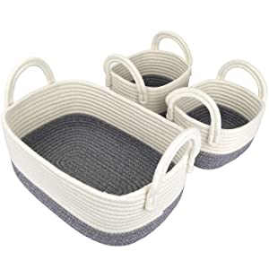 LA JOLIE MUSE 14 Inch Cotton Rope Woven Storage Basket Set of 3, Multipurpose Organizer Bins with Handles, White & Gray