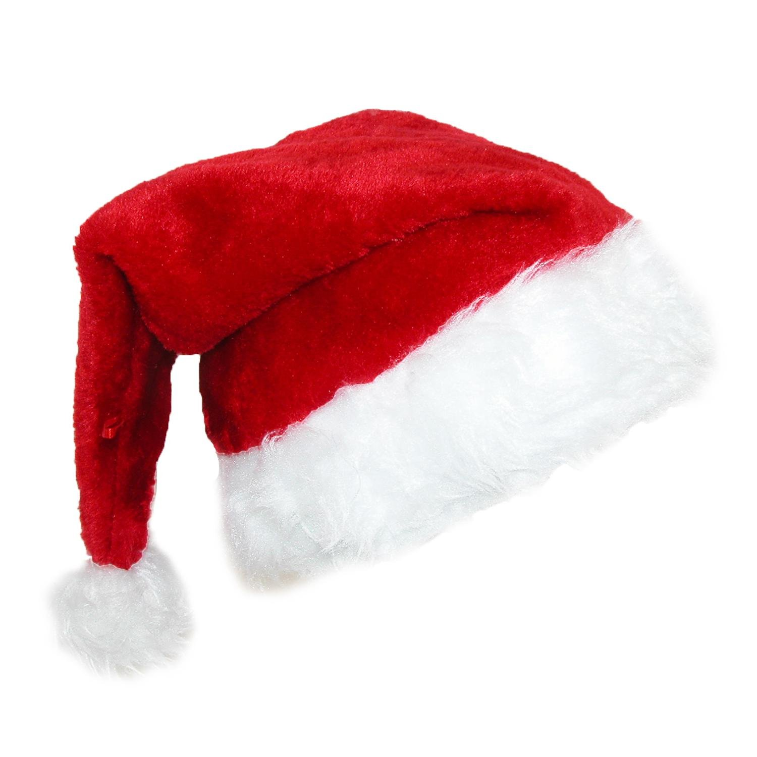 CTM Deluxe Plush Trim Santa Novelty Holiday Hat (Pack of 2) Red JH-20407KIT-RED