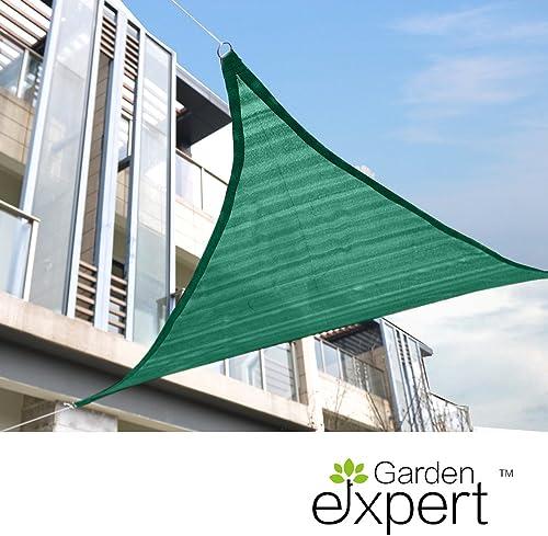 Garden EXPERT 12 x12 x12 Sun Shade Sail Green Triangle Canopy Sail Shade UV Block for Patio Garden Outdoor Backyard