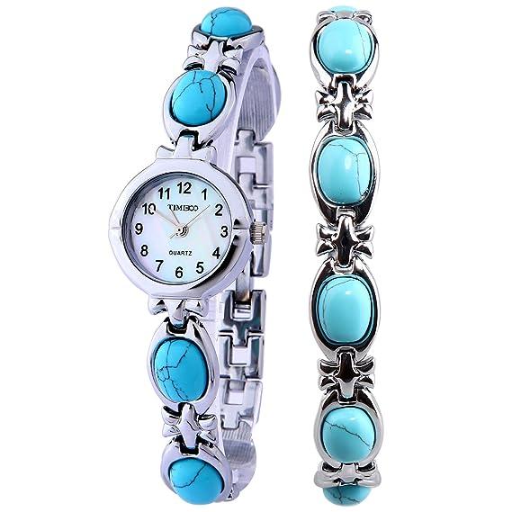 Time100 W50130L.01A Reloj pulsera de joya concha para mujer, estilo de arte correa de joyería de color azul: Amazon.es: Relojes