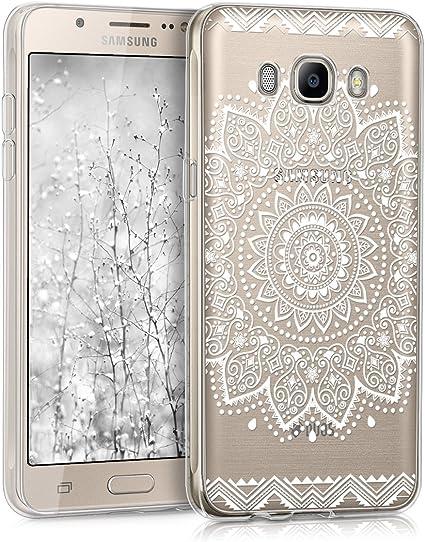 kwmobile Coque Compatible avec Samsung Galaxy J5 (2016) DUOS - Housse Protectrice pour Téléphone en Silicone Rosace Centrale Blanc-Transparent