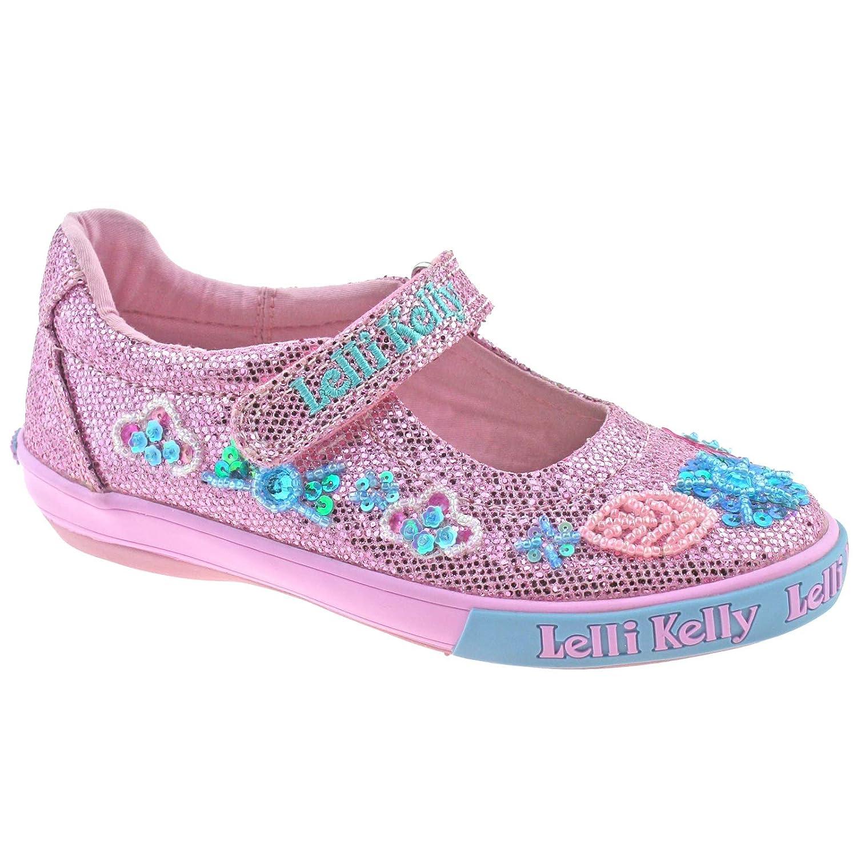 Lelli Kelly LK 9080 Pink Glitter Daisy Sparkle Adjustable Dolly Shoes - Size US 8 // EU 25