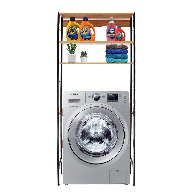 DL furniture - Bathroom Storage Shelf Over Toilet Space Saver | Clothing Racks | Space Organizer | Home Decor | Natural Wood