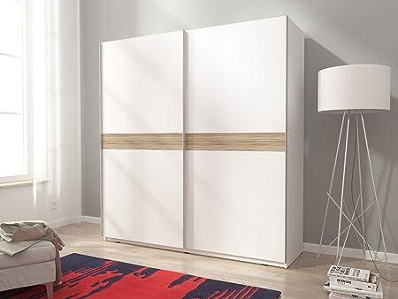 Mia 5 armario de puertas correderas en color blanco mate madera Trim diseño moderno 200 cm 6 5