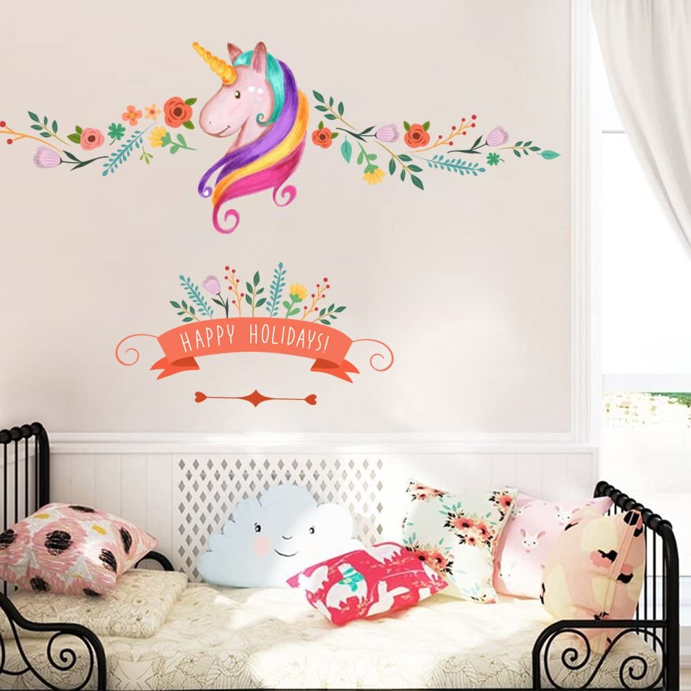 Unicorn Wall Decor Sticker Decals Girls Bedroom Wall Stickers Nursery Room  Wall Decor -Lovely Unicorn Gifts for Girls