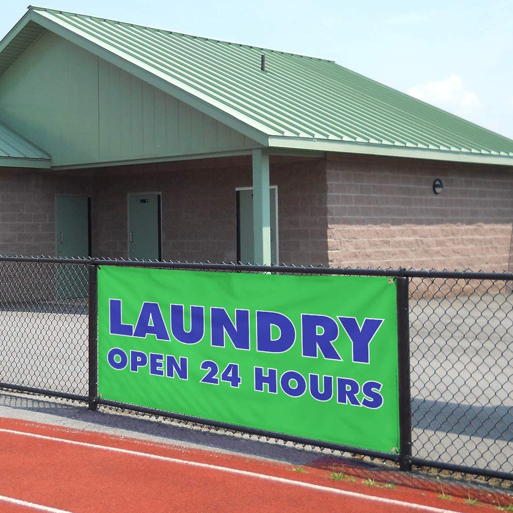 One Banner 8 Grommets Vinyl Banner Sign Laundry Open 24 Hours Business Laundry Marketing Advertising Green Multiple Sizes Available 48inx96in