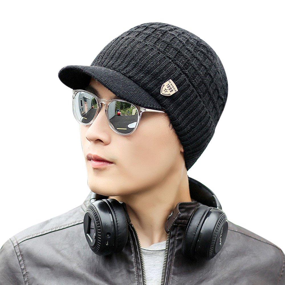 376f290ddce Amazon.com  ❤️Ywoow❤ Men Warm Baggy Weave Crochet Winter Wool Knit Ski Beanie  Caps Hat (Black)  Sports   Outdoors