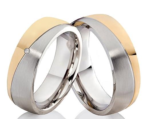 Anillos anillos de boda anillos de compromiso con 1 circonita y anillos Grabado P340: Amazon.es: Joyería