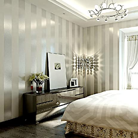 Grey Sliver Stripe Non Woven Wallpaper For Living Room Bedroom 208 In328