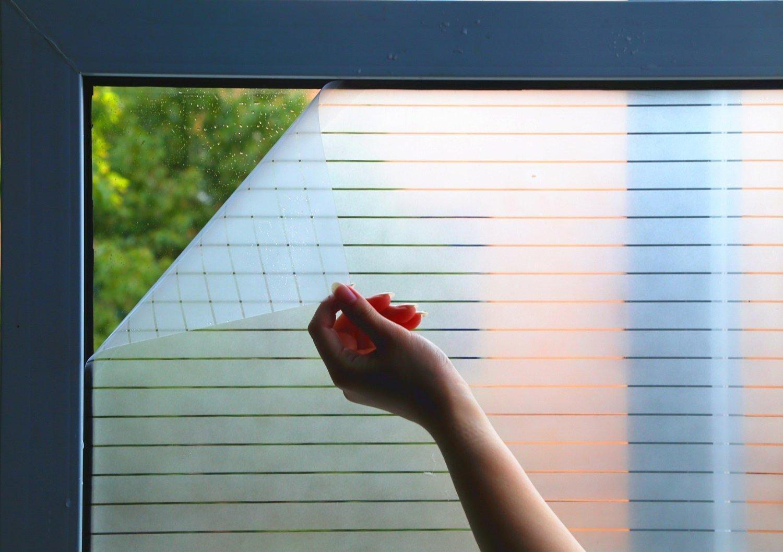 bofeifs Window Film Glass Static Cling Films Decorative Glass Film Window Blinds Window Sticker Window Tint White Stripe 17.7'' by 78.7''