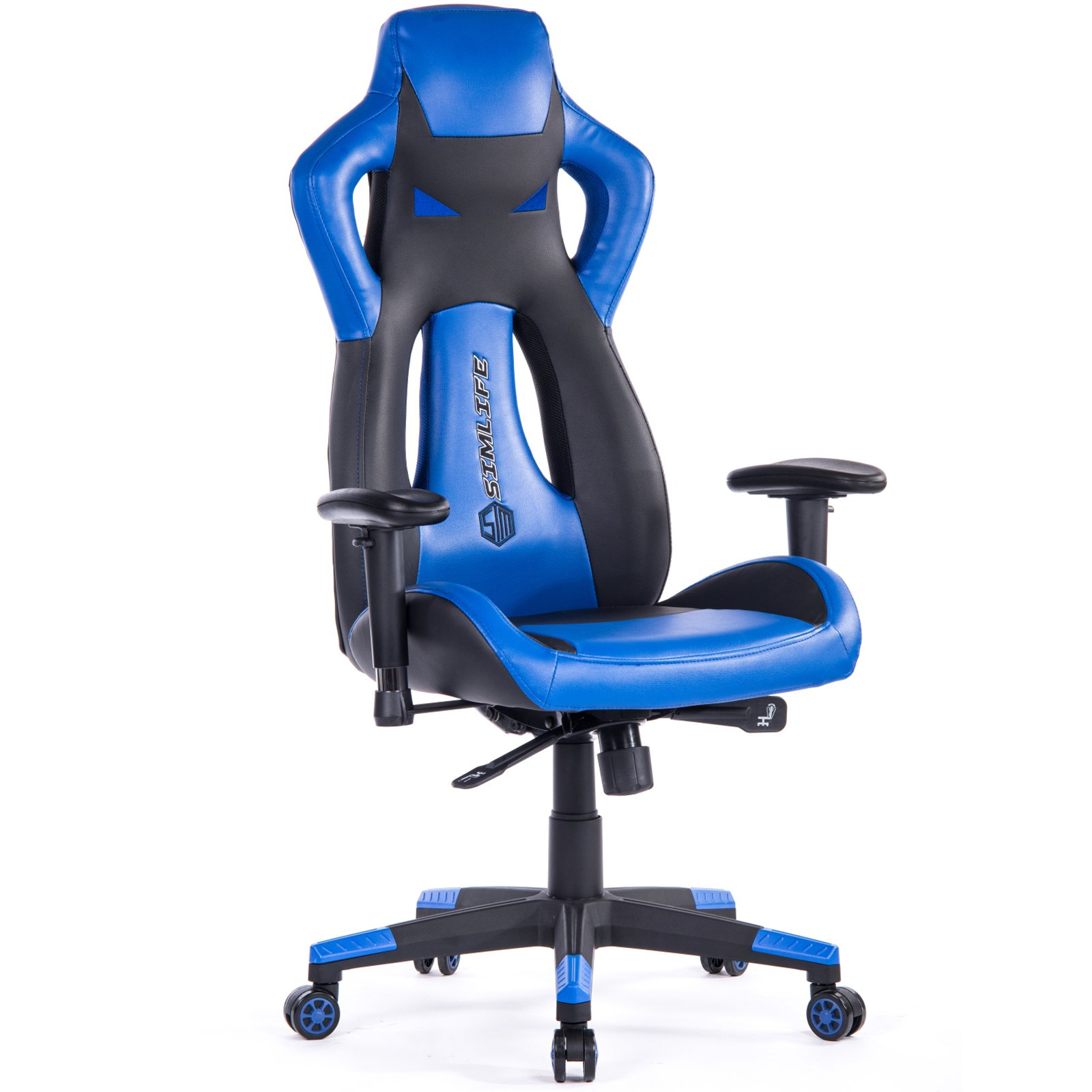 SimLife High-Back Gaming Racing Swivel Chair PU Leather Executive Office Computer Desk Task Chair Blue
