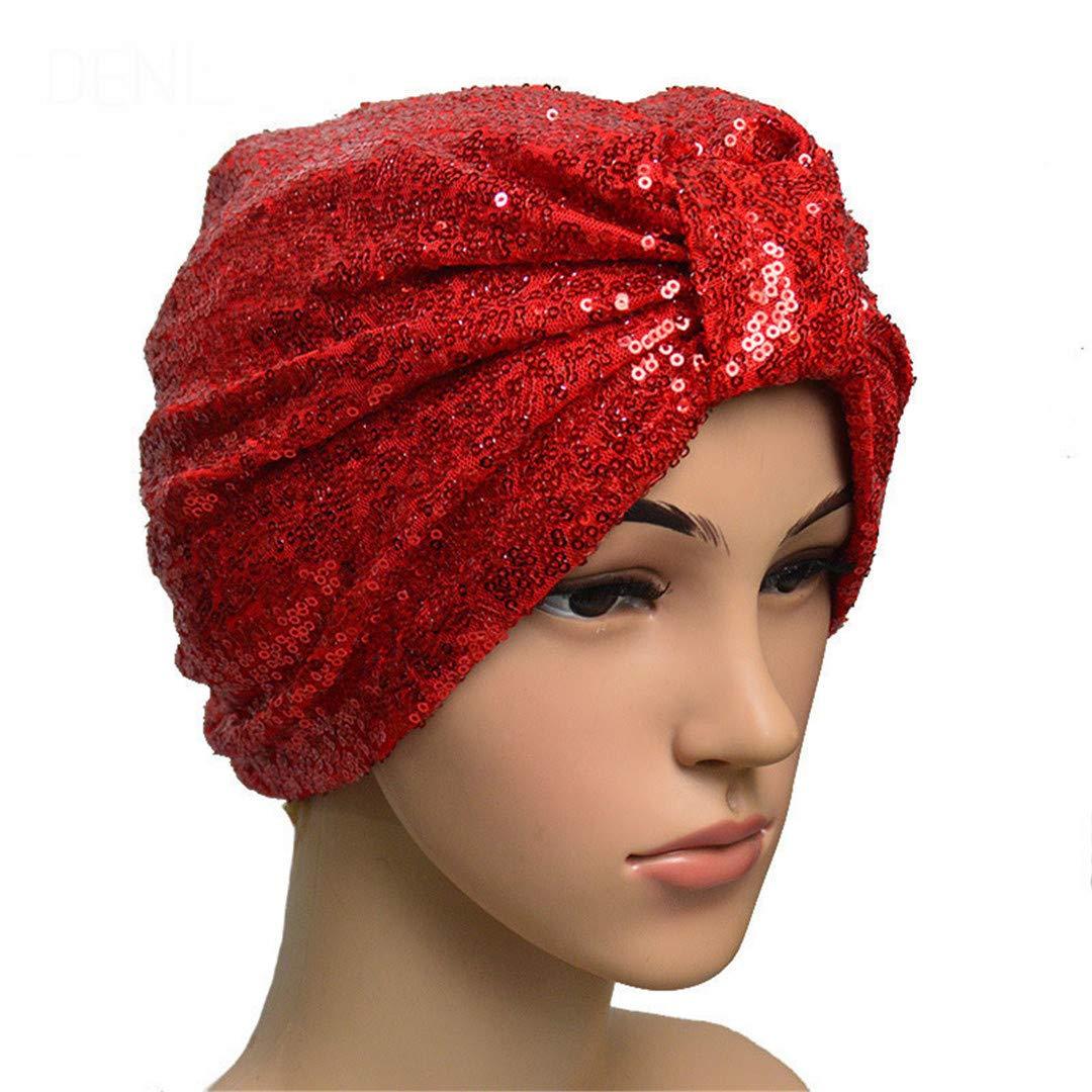 Amazon.com : 1Pcs ON SALE Women Sequined Turban Hijab Pre Tied Bandana Cap Chemo Head Scarf Hair Cover Sleeping Hat Ladies Turban 1 : Beauty
