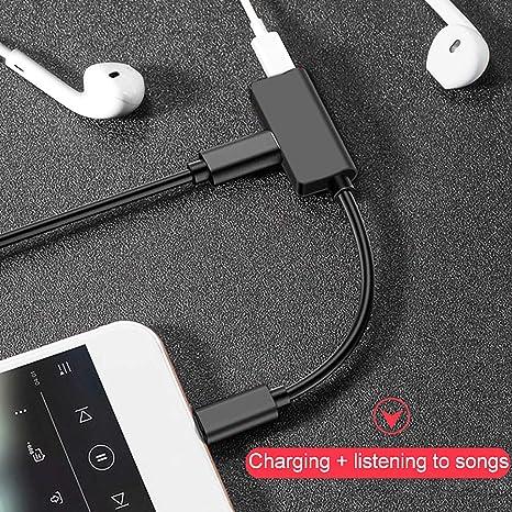 XS//XS MAX Dongle Converter 7Plus 8Plus yidenguk Adaptador de Conector de Auriculares para iPhone,Adaptador de Conector de Audio y Adaptador de Cargador para iPhone 7//8