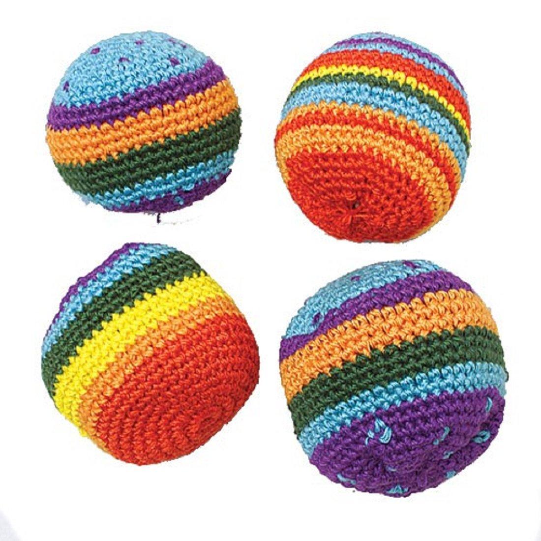 Lot Of 12 Rainbow Knit Kick Ball Hackie Sacks