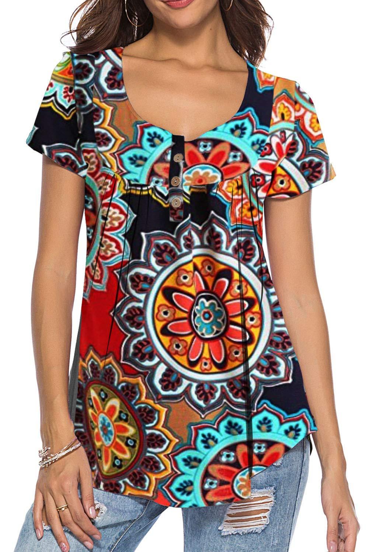 Ladies Printed Flower Short Sleeves Smock Stretch Scoop Neck Tunic T-Shirt Top
