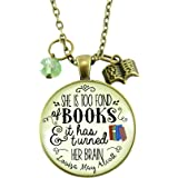 "24"" Book Necklace She is Too Fond of Books Louisa May Alcott Quote Jewelry Book Lover's Bronze Pendant"
