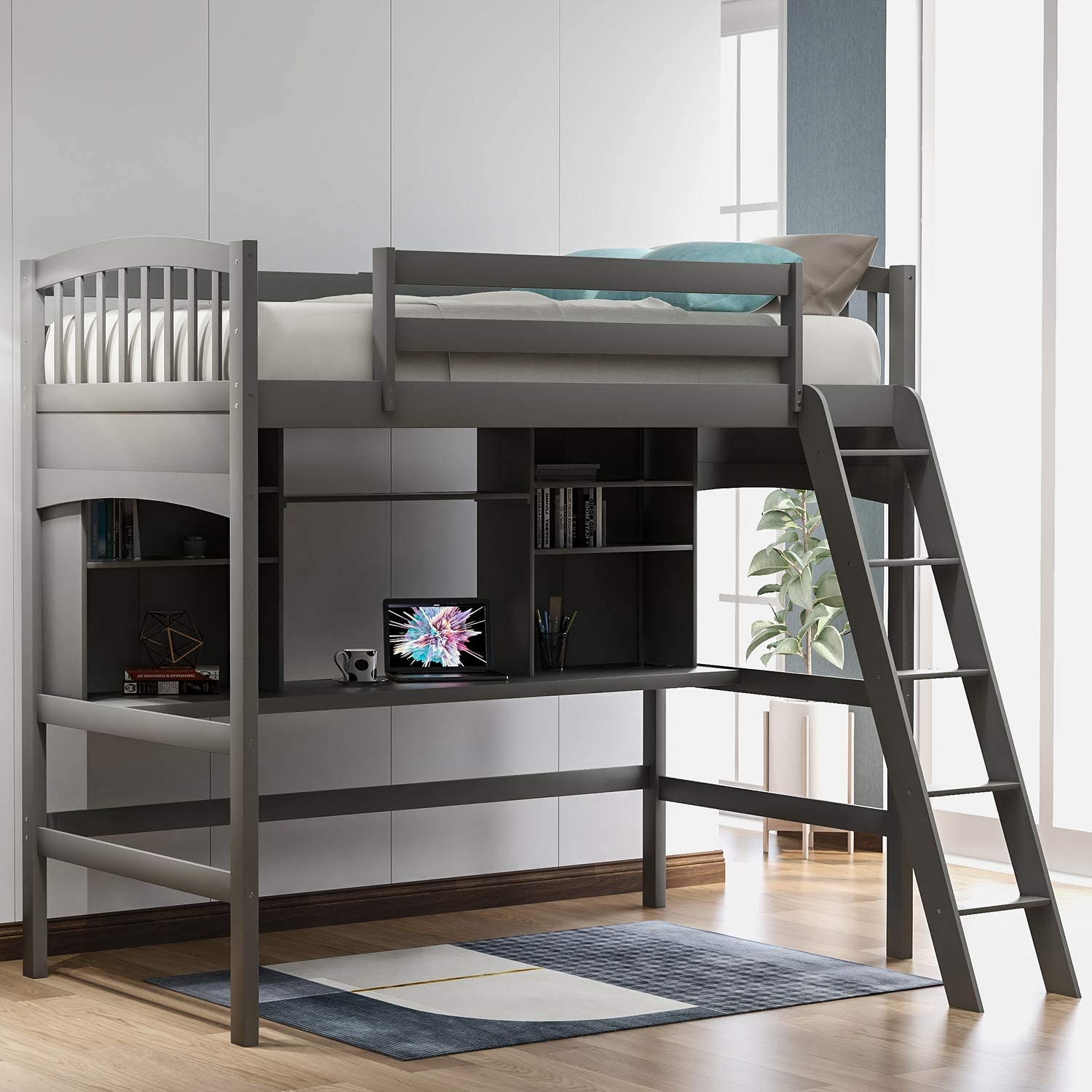 Harper & Bright Designs Twin Loft Beds with Desk and Shelves, Wood Bunk Beds with Desk, No Box Spring Needed (Grey, Twin)