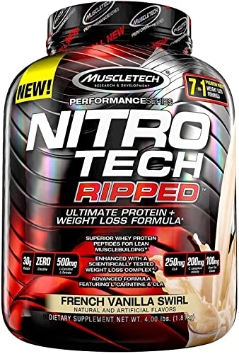 MuscleTech Nitro Tech Ripped Ultra Clean Whey Protein Isolate Powder Weight Loss Formula, Low Sugar, Low Carb, French Vanilla Swirl, 4 lbs, 64 oz