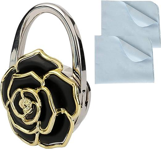 Amazon.com: OOTSR Foldable Handbag Hanger Purse Hook with Cleaning Cloth,  Portable Folding Handbag Hanger Women's Bag Holder Lady Charm Handbag  Wallet Purse with Rose-Shape Handbag Holder for Table Desk: Home & Kitchen