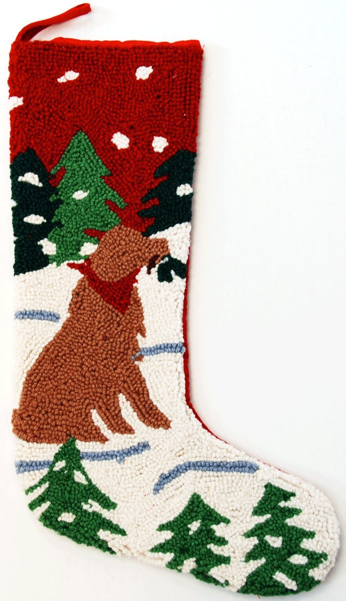 Alpine Mountain Golden Retriever Dog Hooked Wool Christmas Stocking- Large 21'' Size - Exclusive Design by For the Love of Dogs