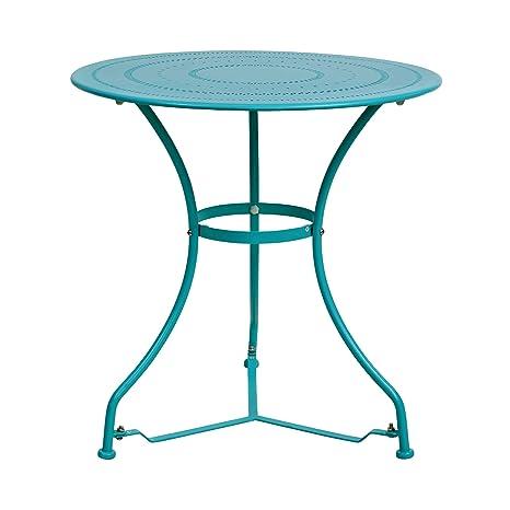 Butlers Century Tisch In Turkis O 70 Cm Gartentisch Aus Beschichtetem Eisen Balkontisch Kaffeetisch Beistelltisch