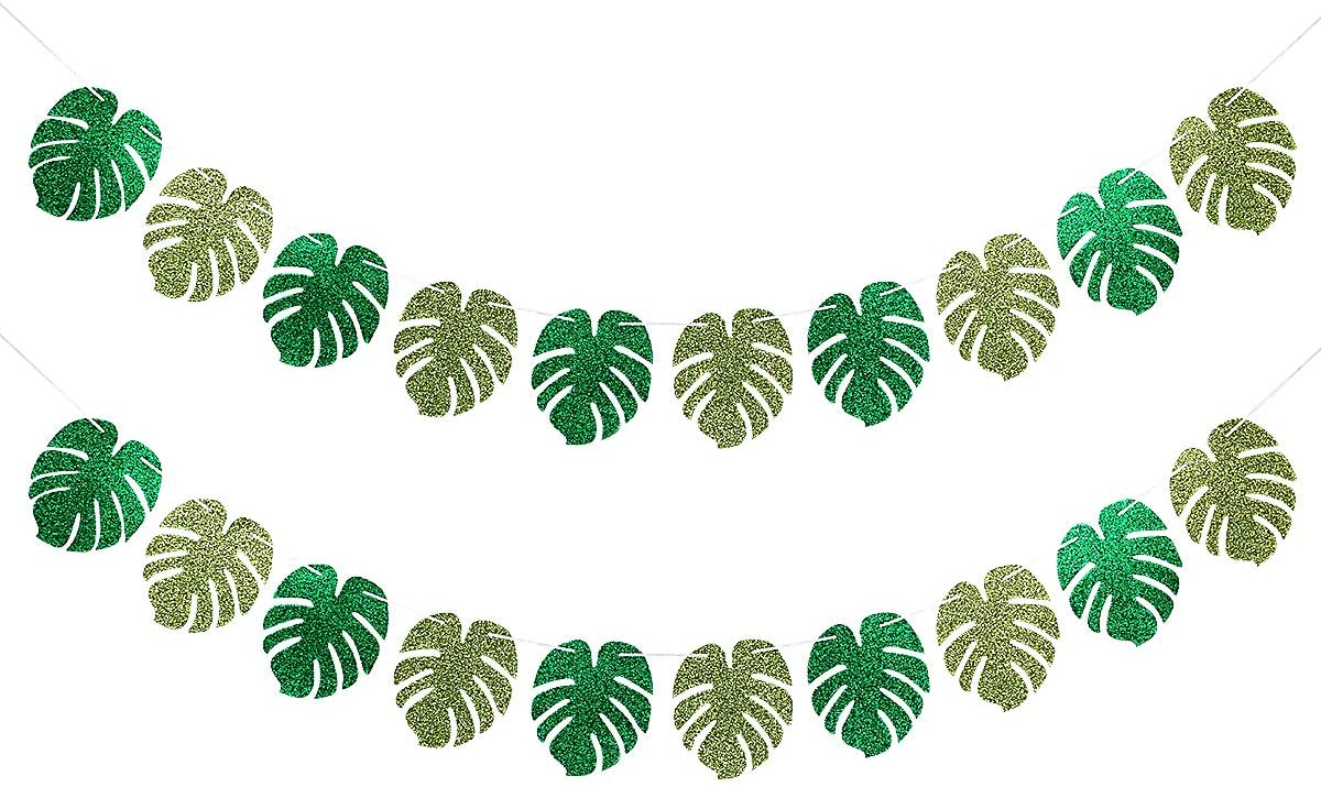 2 Pack Glittery Palm Leaves Banner- Palm Leaves Tropical Hawaiian Luau Party Suppliers Decorations,Tiki Aloha Jungle Beach Birthday Party Decorations