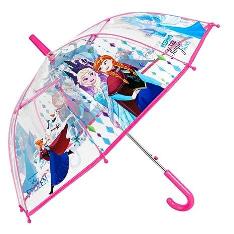 Paraguas Disney Frozen Niña - Paraguas Transparente de Burbuja con Estampado Princesa Elsa y Anna -
