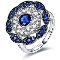 Merthus S925 no-Metal-Type Round-Shape Created-Blue-Sapphire