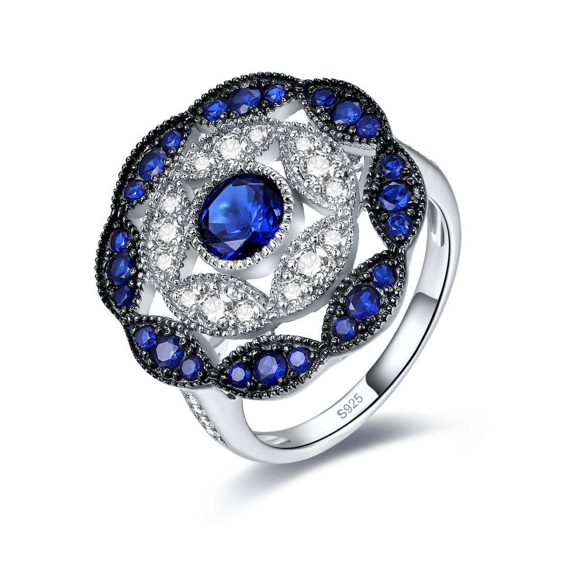 Merthus Anique Vintage Womens 925 Sterling Silver Created Blue Sapphire Cluster Statement Ring