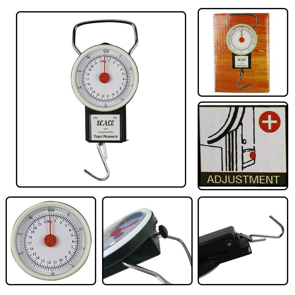 JSHANMEI Digital Hanging Scale Mechanical Kitchen and Fishing Scale Multi-Purpose Portable Hand Held Dial Weight Scale with Tape Measure 50 Lbs // 22Kg