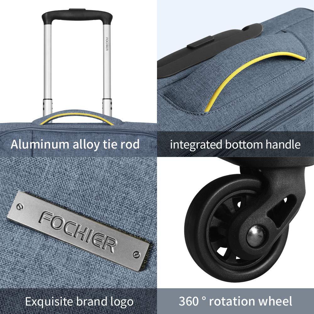 FOCHIER Juegos de Maletas Softshell expandibles Juego de Maletas de 3 PCS Spinner Lightweight TSA Lock,Azul