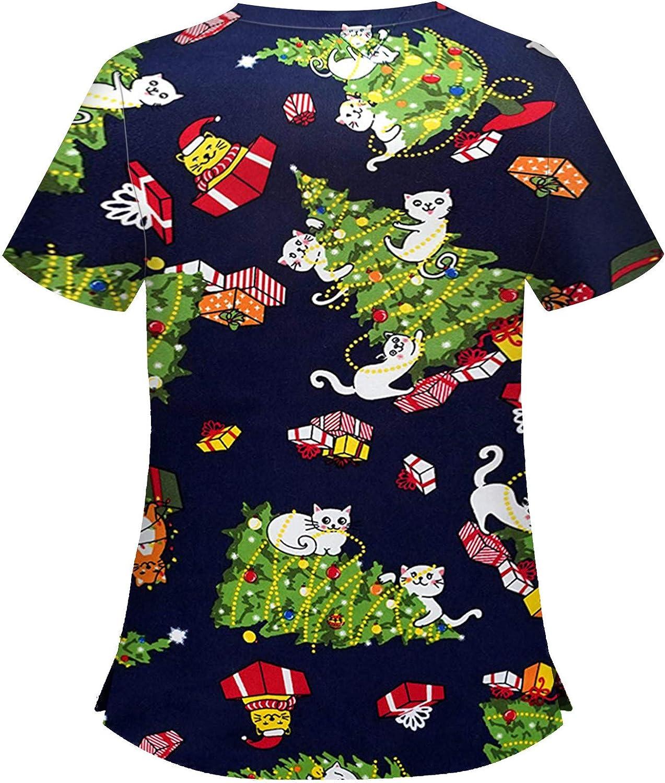 Bellelove Womens Healthcare Tunic Uniform Christmas Tops Short Sleeve V-Neck Tops Working Uniform Christmas Blouse Womens Fashion Holiday Tops