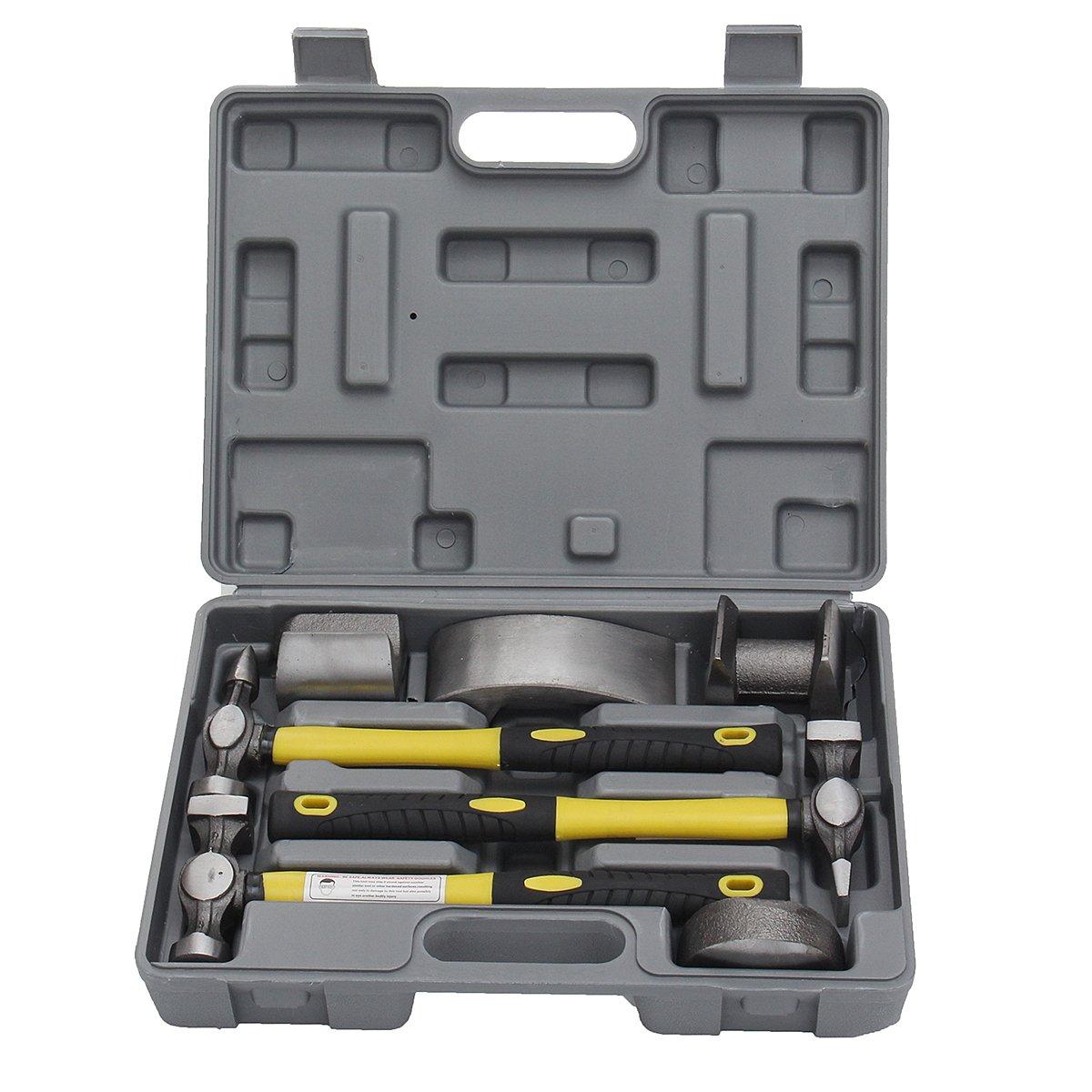 HITSAN 7 Pcs Auto Car Repair Kit Car Body Repair Tool Kit Dolly Tool Dent Repair Set Kit One Piece
