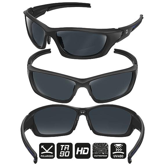 e6f8169f514 BLUPOND Baseball Sunglasses for Men Women Sport TR90 Light Weight Frames  and Polarized Lens (Black Blue