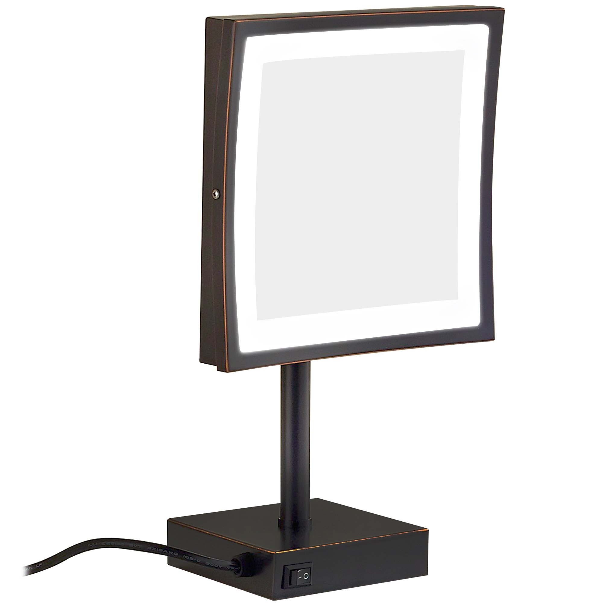 GURUN Square Lighted Vanity Mirror with 3x Magnification,8.5 inch (Oil-Rubbed bronze)