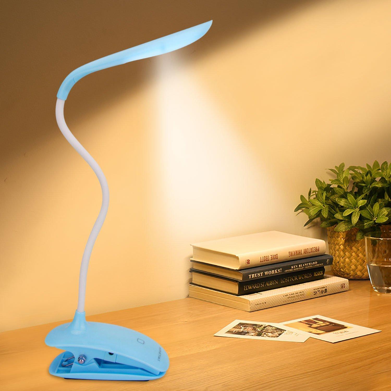 Tragbare LED-Leselampe mit flexiblen Schlangen Hals aus Enlightric® mit 3 Dimmer Versorgung 3-stufig verstellbare Helligkeit - Best biegsame Reisen Lampe Clips an Kopfteil zum Lesen in der Nacht und Augen-freundlich - Verwenden Sie für Bücher, Kindle, Nook