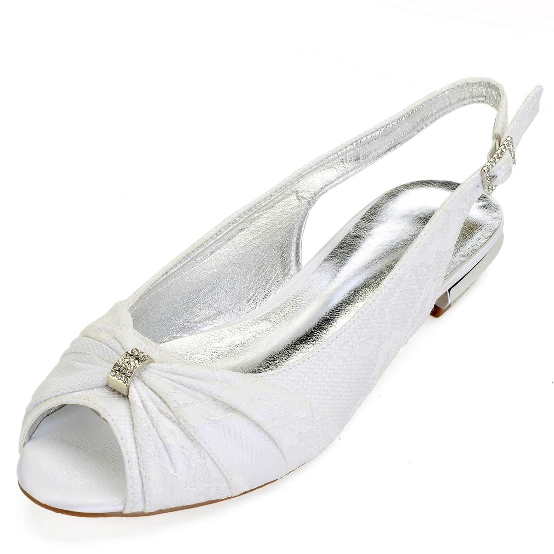 Elobaby Frauen Hochzeit Schuhe Sommer Satin Flache Flache Flache Party Peep Toe & Abend handgefertigt   1,5 cm Absatz 439ba4