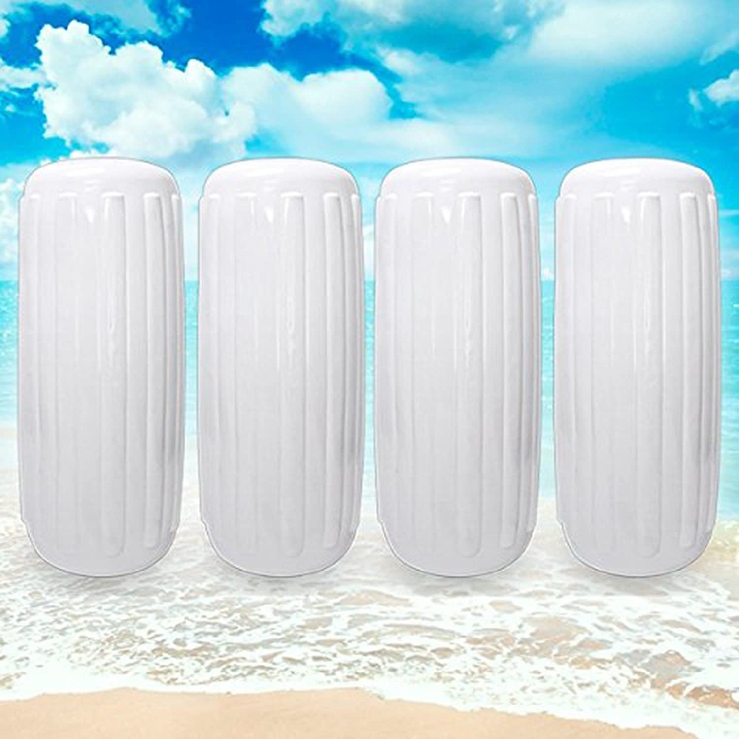 North East Harbor NEH Center Hole Ribbed Boat Pontoon Fender 10 x 28 4pcs Inflatable Vinyl Mooring Bumpers Guard Dock Docking White