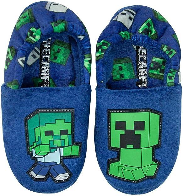 Creeper and Zombie Steve Slippers Kids Pantoufles Chaudes Bleues pour gar/çons