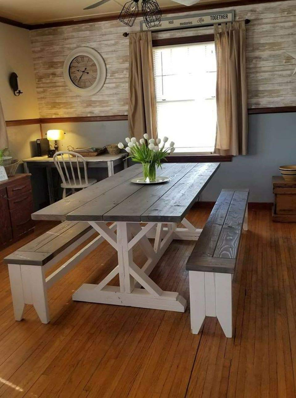 Amazon Com Farmhouse Style Dining Room Table Benches Sold Separately Various Sizes Available Handmade