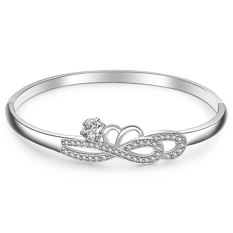 Menton Ezil Snow White Seven Stones 18K White Rose Gold Plated Seven Stones Bangle Bracelets Swarovski Jewelry Gift Her MEJWW744CB01