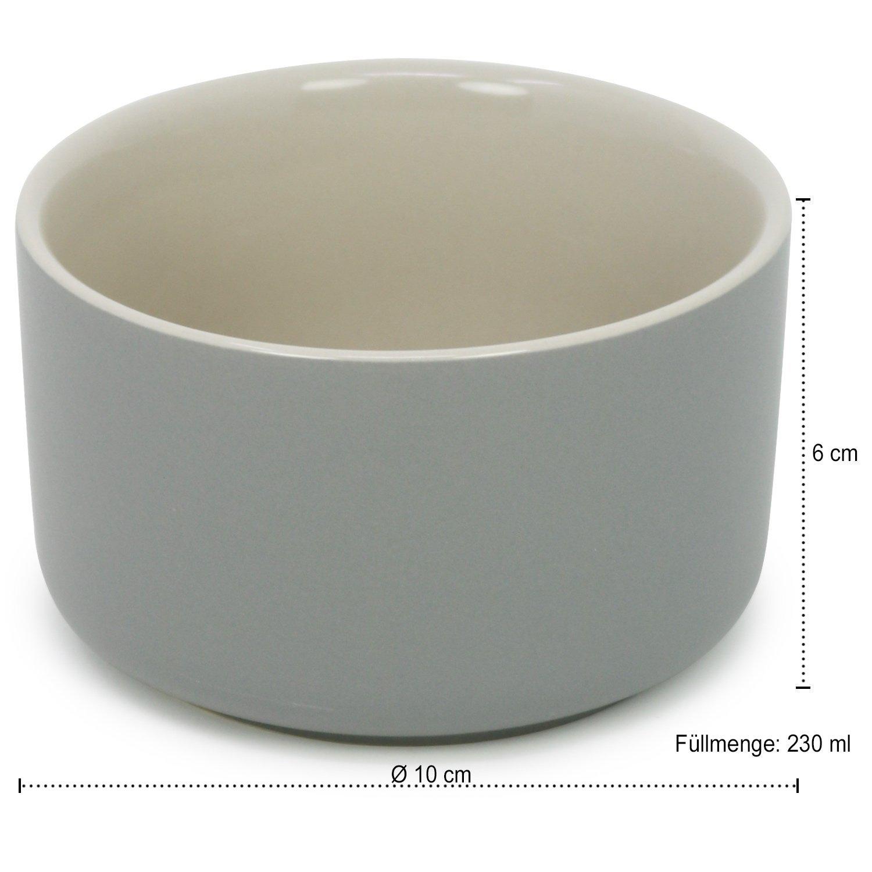 COM-FOUR/® 2x bols daileron 06 pi/èces - 185 ml orange bols /à cr/ème br/ûl/ée gris et beige 230 ml par plat casserole plat /à tarte