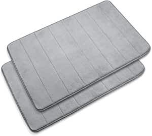 "Baytion Large Size Bath Mat 19.67"" x 31.48"", Anti-Slip Memory Foam Bathroom Mat,Soft & Comfortable Floor Rug With Super Absorption,Non-Slip,Thickened, Machine Wash,Easier Clean,2PCs Set Gray"
