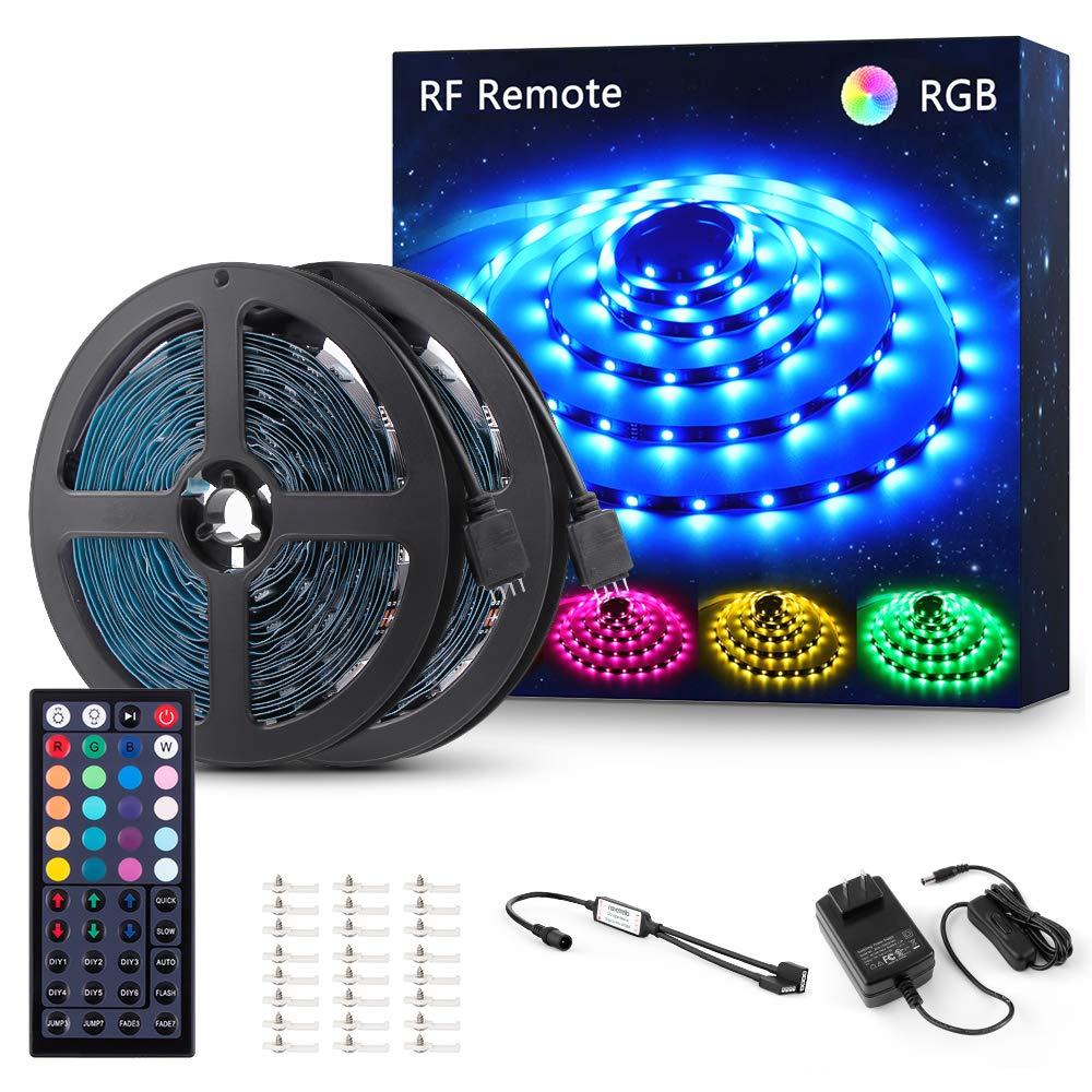 Novostella 40ft RGB LED Strip Light kit, Flexible Color Changing 360 Units SMD 5050 LEDs, 12V LED Tape with 44 Key RF Remote, Dimmable LED Ribbon for Home Lighting Kitchen Bar,UL Listed Power Supply by NOVOSTELLA