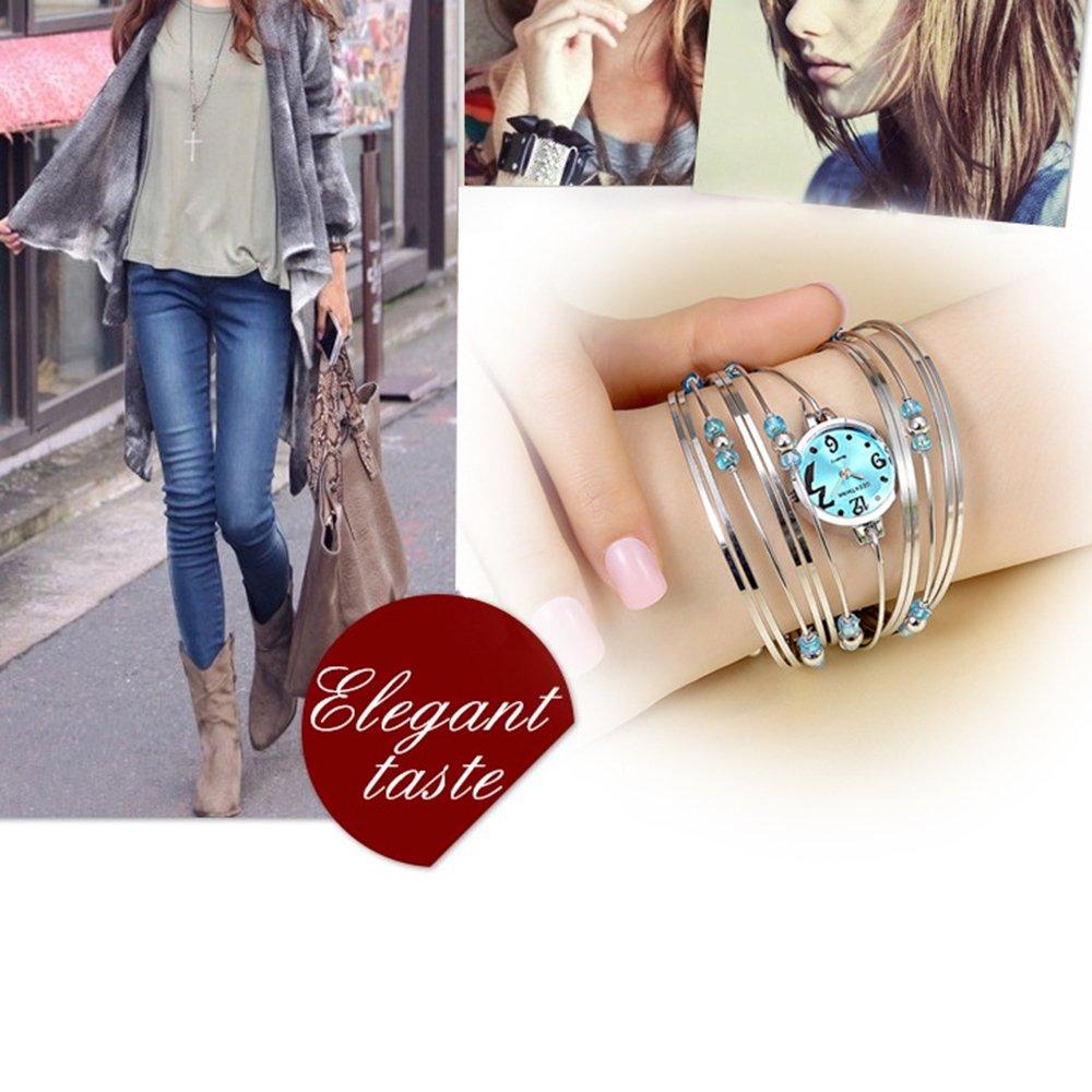 Womens Quartz Bracelet Watch Fashion Analog Multilayer Stainless Steel Ladies Jewelry Watches Women Wristwatch on Sale (Blue) by AEHIBO (Image #5)