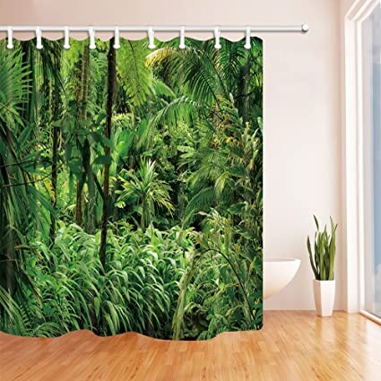 HiSoho Rainforest Decor Palm Tree Leaves In Tropical Jungle Shower Curtains Polyester Fabric Waterproof