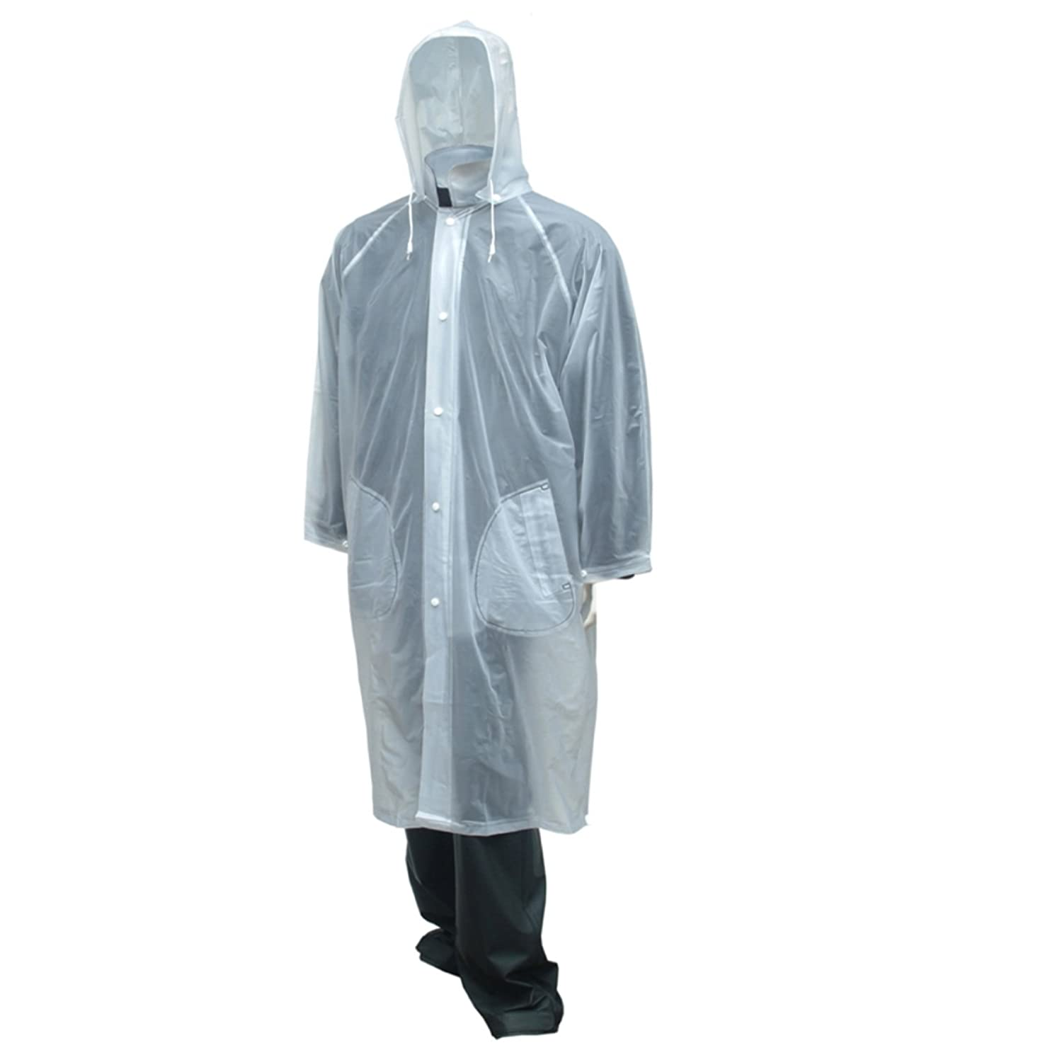 "Tuff-Enuff Clear 48"" Storm Fly Front Coat with Detachable Hood or get a 3 Pc Jacket Storm Fly Front + Detachable Hood + Plain Front Overall - .20mm Single Layer Ply PVC – 8 Mill Thick 3X-Large HORIZON DISTRIBUTION C61210"